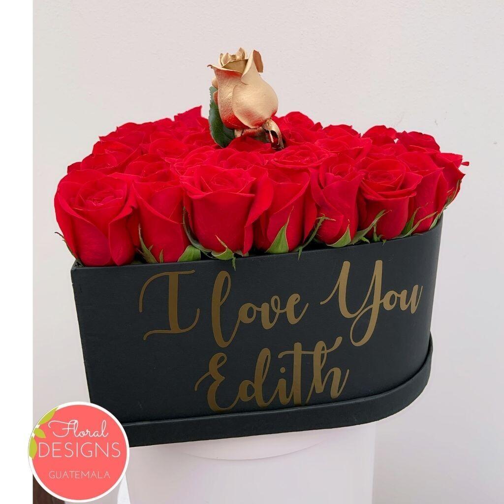 Caja de corazón 30 rosas