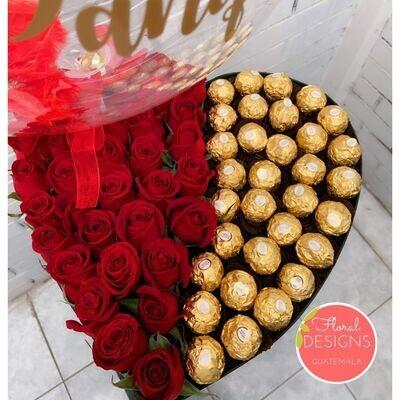 Big box de corazón Ferrero + Globo burbuja