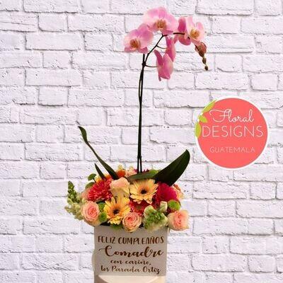 Caja de Flores Mixtas + Orquídea