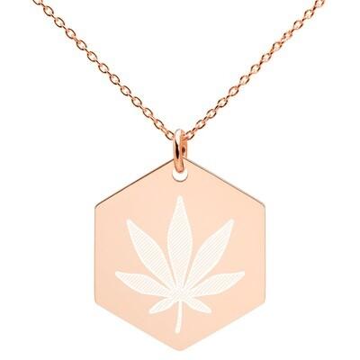 Cannabis Engraved  Hexagon Necklace