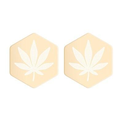 Cannabis Leaf Hexagon Stud Earrings