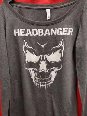 Headbanger Smiling Skull Women's Long Sleeve T-Shirt
