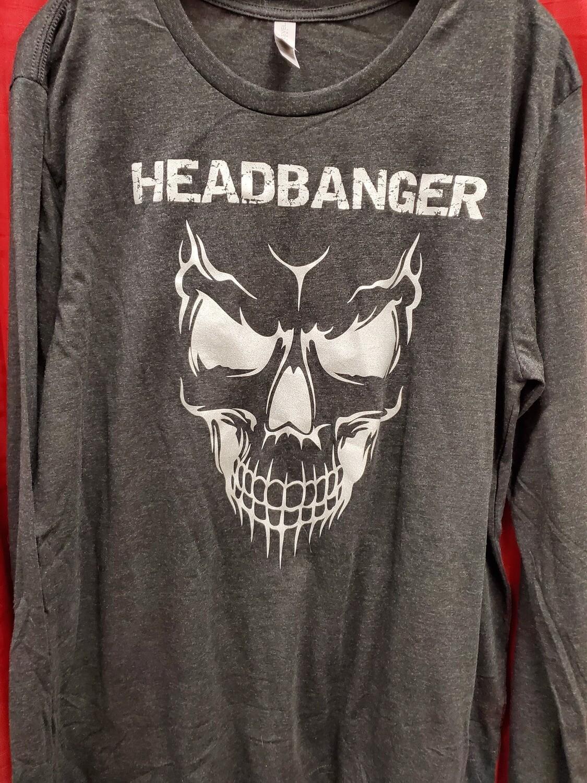 Headbanger Smiling Skull Men's Long Sleeve T-Shirt