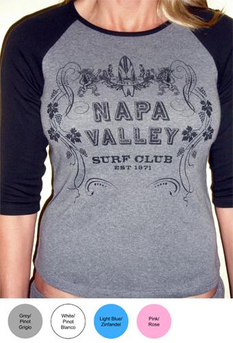 Napa Valley Surf Club Ladies 3/4 Sleeve T-Shirt