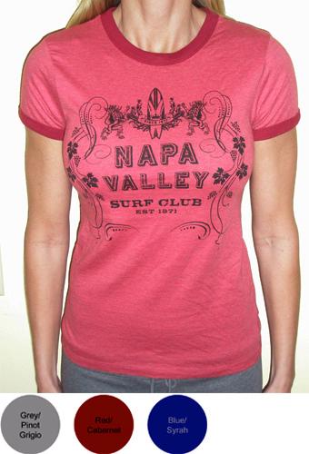 Napa Valley Surf Club Ladies Ringer T-Shirt