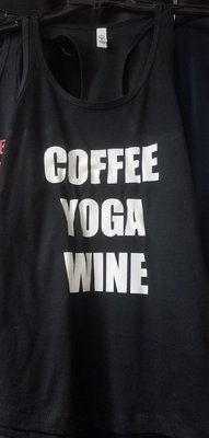 Coffee-Yoga-Wine Ladies Tank Top Racer Back
