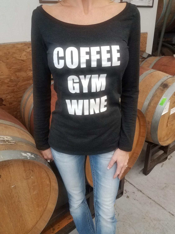 Coffee-Gym-Wine Ladies Long Sleeve Scoop Neck T-Shirt