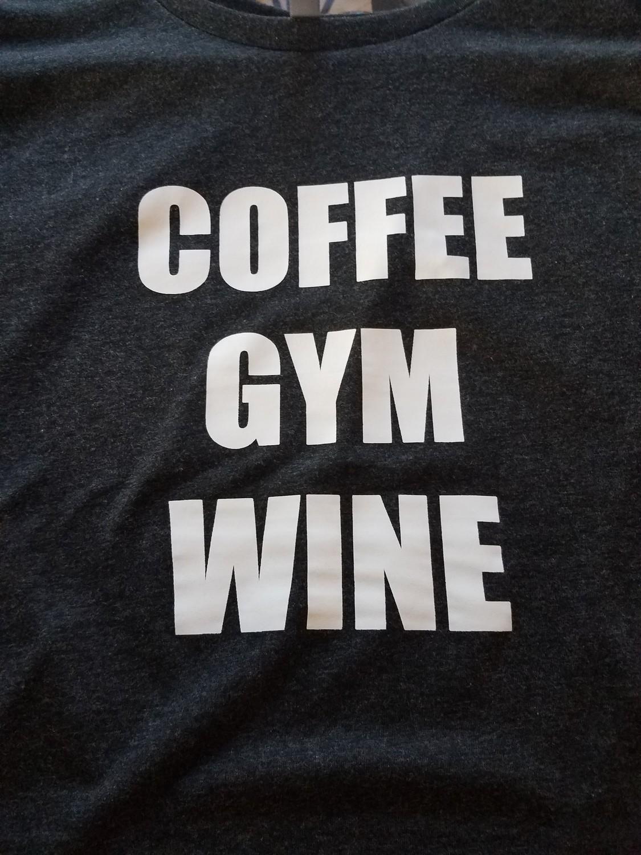 Coffee-Gym-Wine Ladies Racer Tank