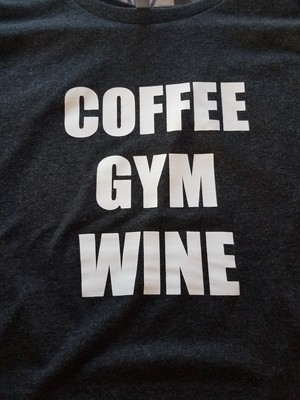Coffee-Gym-Wine Ladies Racer Tank
