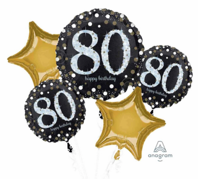 Happy 80th Birthday - Gold and Black Bouquet