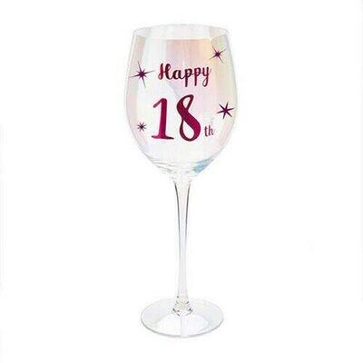 Happy 18th Wine Glass