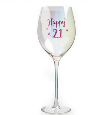 Happy 21st Wine Glass