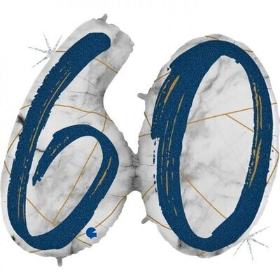 60 - Double Digit Marble Mate Blue