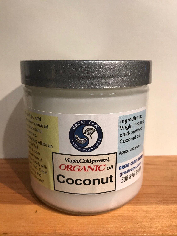 Coconut Oil, Organic Cold Processed 16 oz