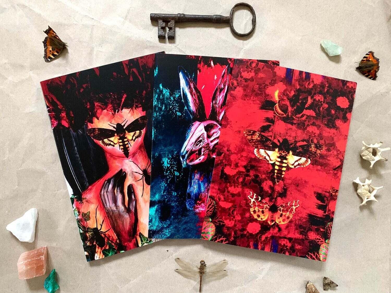 3 x A5 Entomology Horror Design Notebooks