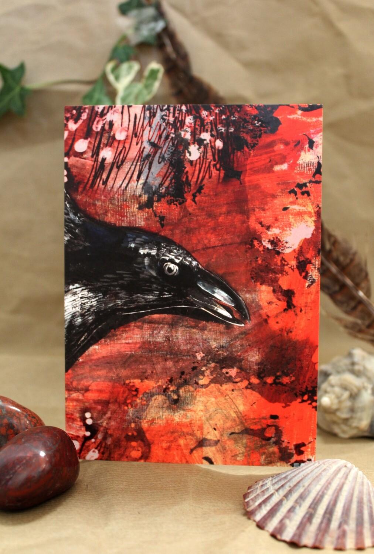 Flying Crow Greetings Card