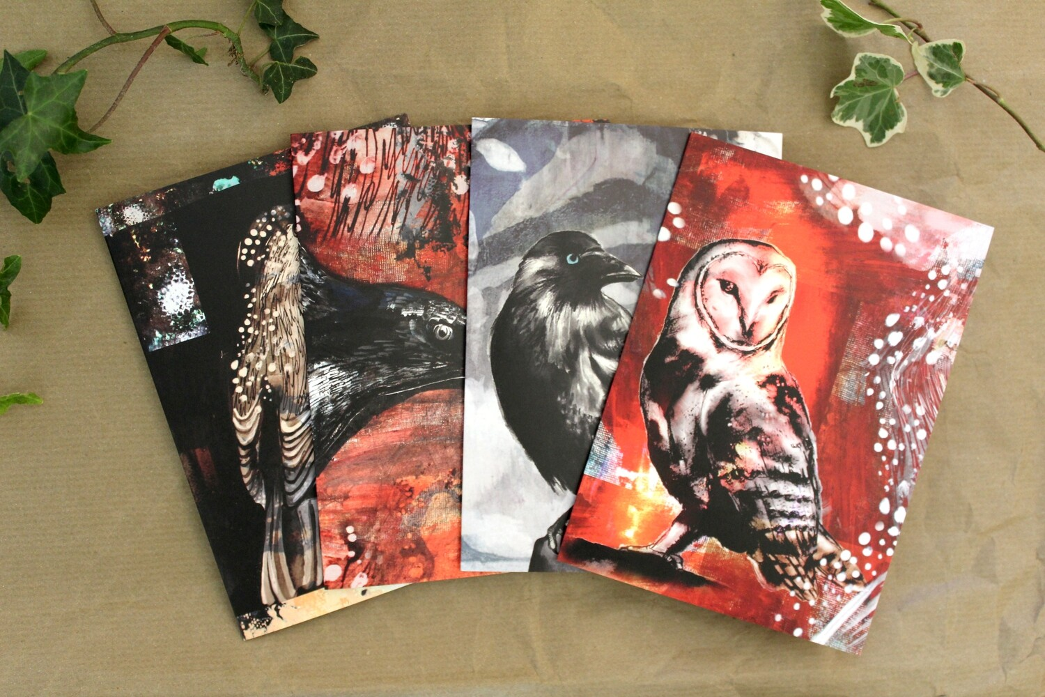 Four Illustrated Wild Bird Greetings Cards