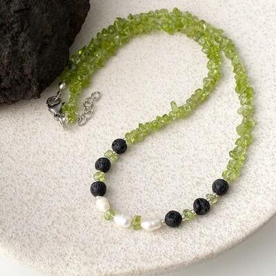 Olivin Lava Süsswasserperlen