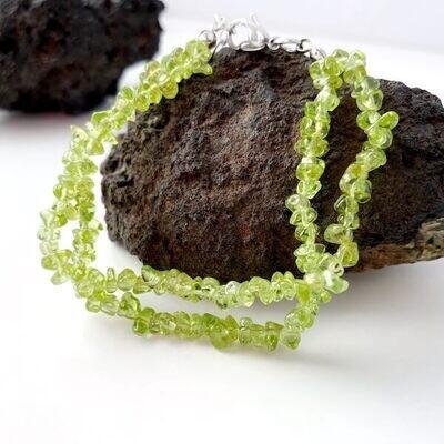 Olivin Nugget Armband