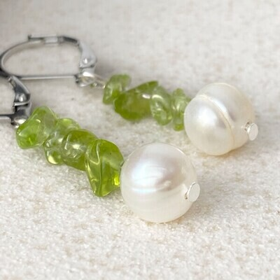 Olivin Suesswasser Perle - Ohrringe