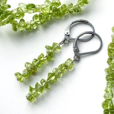 Olivin Nugget - Ohrringe lang