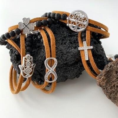 Symbol Armbänder - Lava + Leder