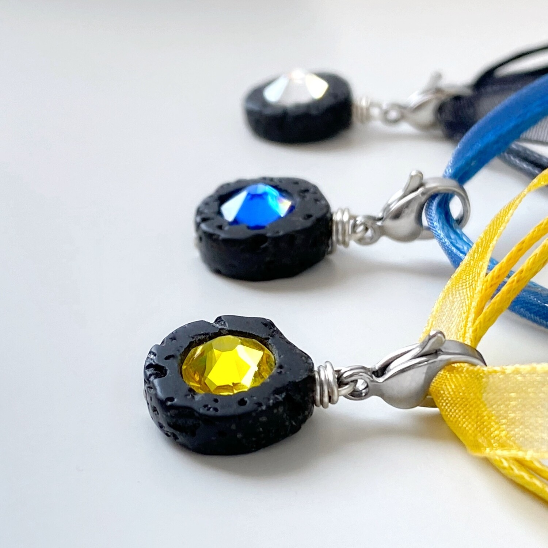 Mini Charm Lava Scheibe + Kristall