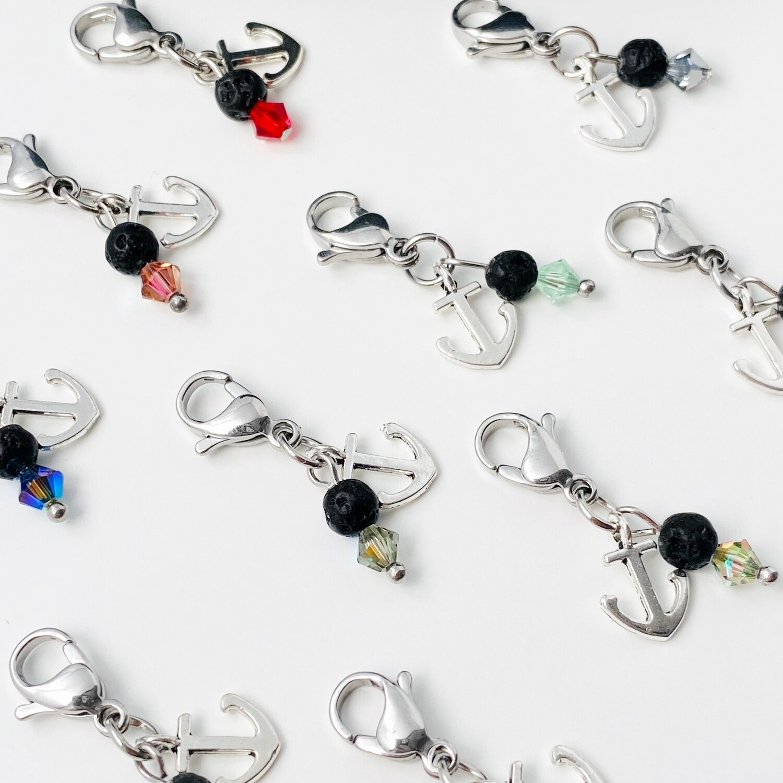 Mini Anker Charm - Lava + Kristall 4 mm