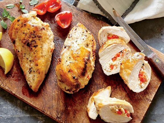 Asiago and Roasted Red Pepper Stuffed Chicken Breasts