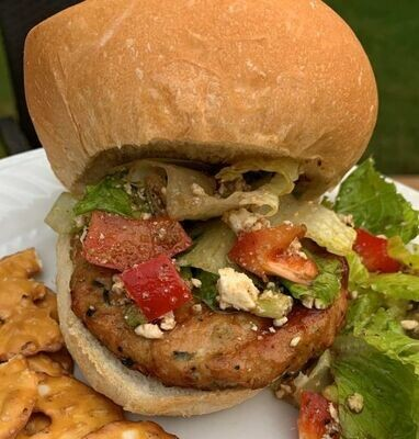 Feta and Spinach Chicken Burger