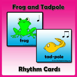 Rhythm Cards with Frogs and Tadpoles