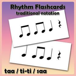 Rhythm Flashcards - Set Two - Traditional Notation