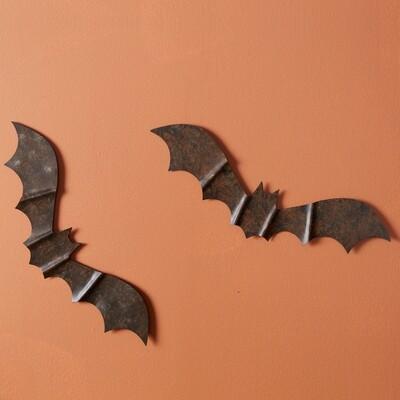 Rustic Metal Bat Wall Decor - Box of 4