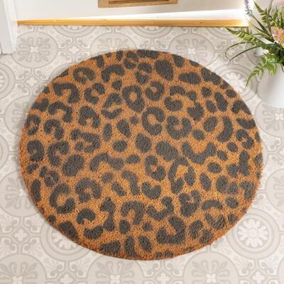 Grey Leopard Print Circle Doormat