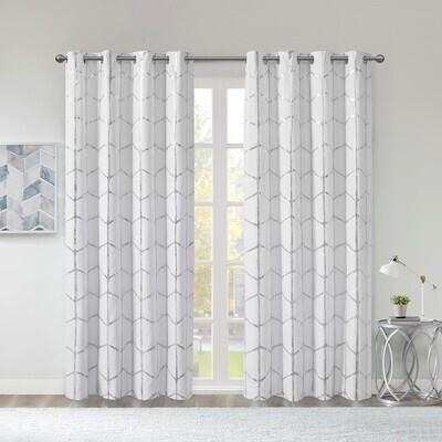 Raina Total Blackout Metallic Print Grommet Top Curtain Panel