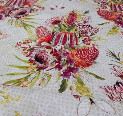 13995 Australian Garden Twist Floral bouquet cream $26 per mt