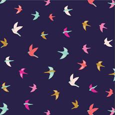 16922 Summer Dance Birds Navy $30 per mt
