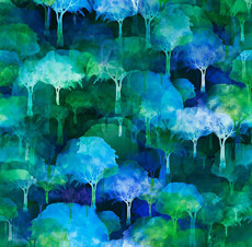14628 UrbanJungle Trees Blue $28 per mt