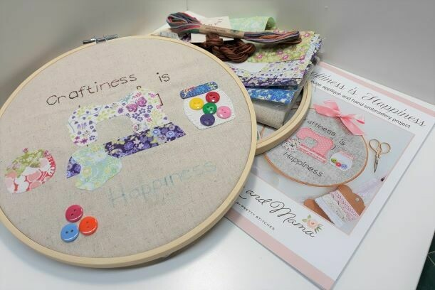 Craftiness is Happiness Pattern & fabric kit $55