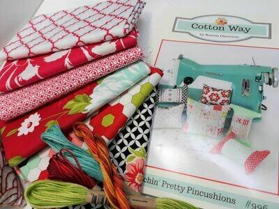 Pretty Pincushions pattern & fabric kit$55