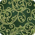 16947 Holiday Flourish Scroll Green $32 per mt