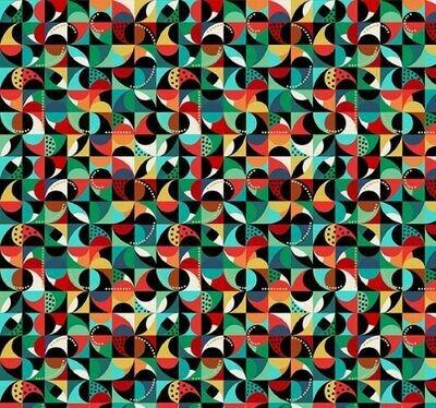 16951 Folk Friends Mosaic Black $32 per mt