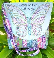 45834 Butterfly Flowers Cross Body Bag Pattern $22