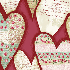 13885 Lovesong Hearts Red $25.60 per mt