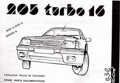 Parts Manual Peugeot 205 T-16
