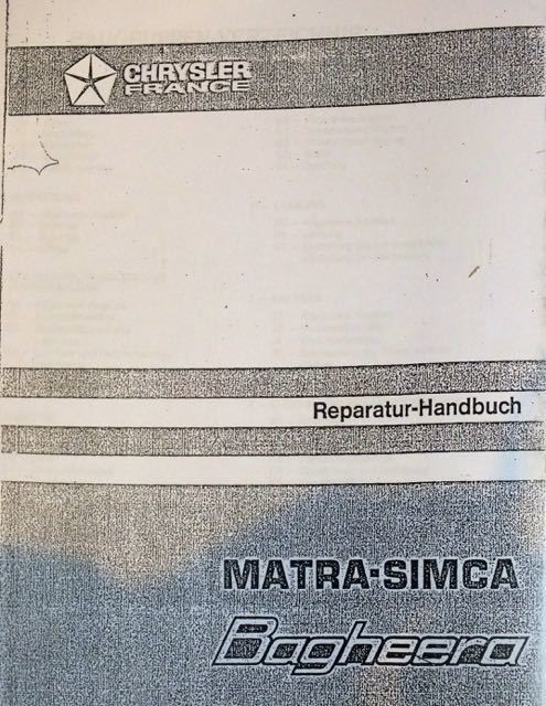 Workshop Manual Matra Bagheera German