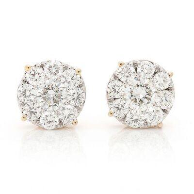 Solitaire Diamond Clusters Stud Earrings