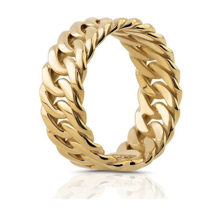 SOLID 18K GOLD CUBAN RING