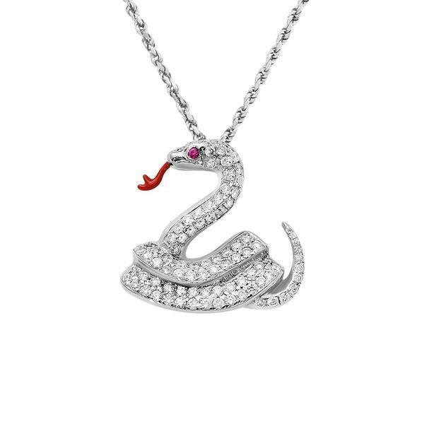 White Gold Snake Pendant