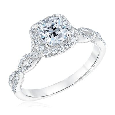 Diamond Cushion Cut Engagement Ring